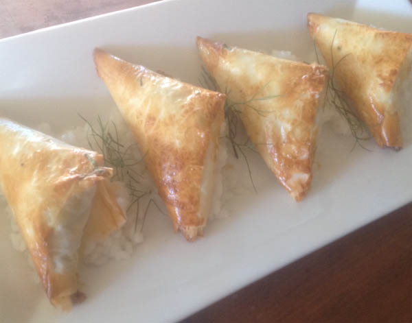 Moroccan chicken Filo triangle parcels